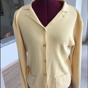 Talbots butter yellow blazer looking sweater